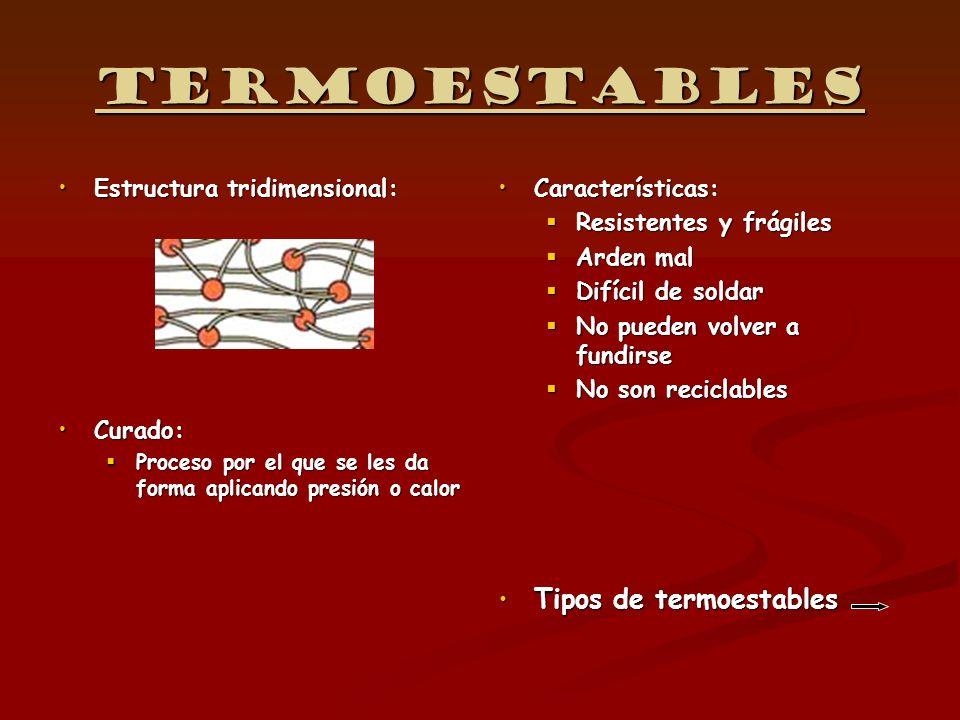 Termoestables Estructura tridimensional:Estructura tridimensional: Curado:Curado: Proceso por el que se les da forma aplicando presión o calor Proceso