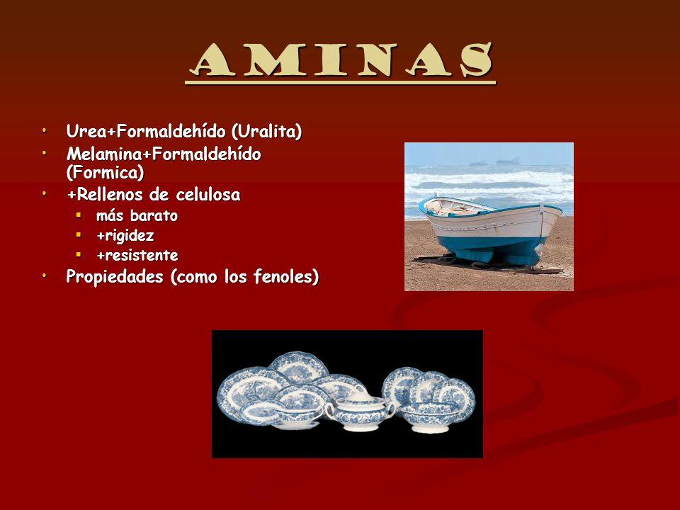 Aminas Urea+Formaldehído (Uralita)Urea+Formaldehído (Uralita) Melamina+Formaldehído (Formica)Melamina+Formaldehído (Formica) +Rellenos de celulosa+Rel
