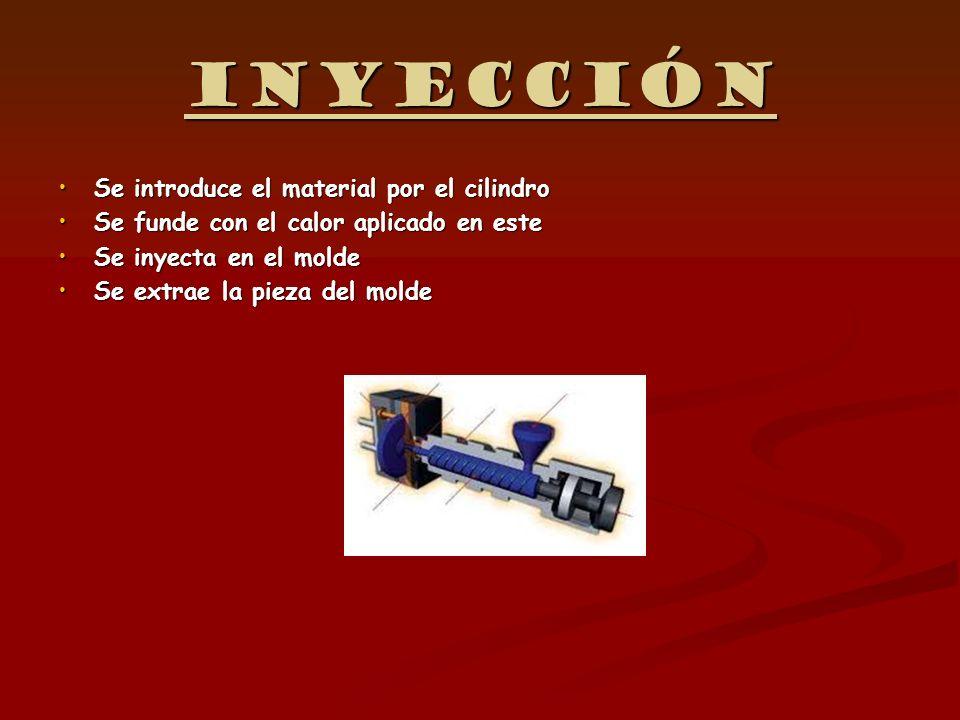 Inyección Se introduce el material por el cilindroSe introduce el material por el cilindro Se funde con el calor aplicado en esteSe funde con el calor