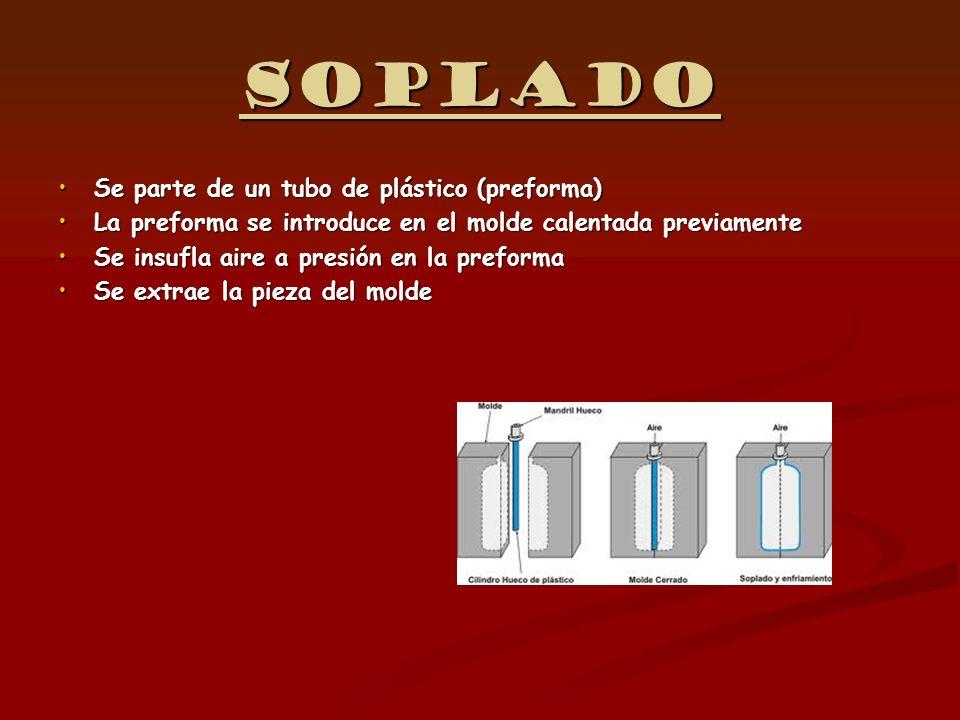 Soplado Se parte de un tubo de plástico (preforma)Se parte de un tubo de plástico (preforma) La preforma se introduce en el molde calentada previament