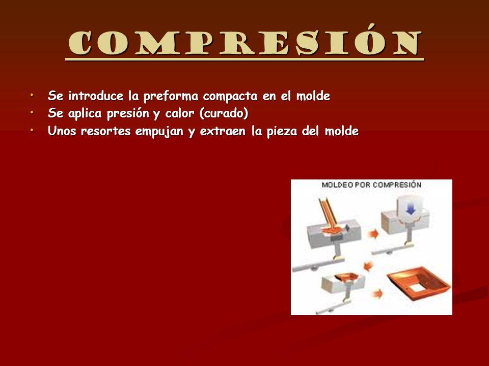 Compresión Se introduce la preforma compacta en el moldeSe introduce la preforma compacta en el molde Se aplica presión y calor (curado)Se aplica pres