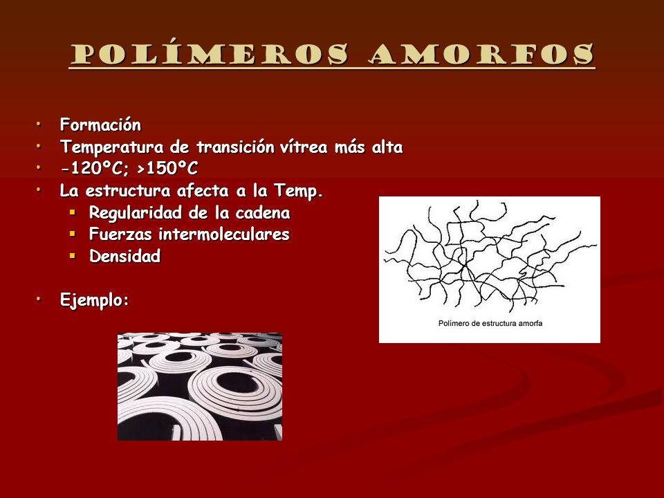 Polímeros amorfos FormaciónFormación Temperatura de transición vítrea más altaTemperatura de transición vítrea más alta -120ºC; >150ºC-120ºC; >150ºC L