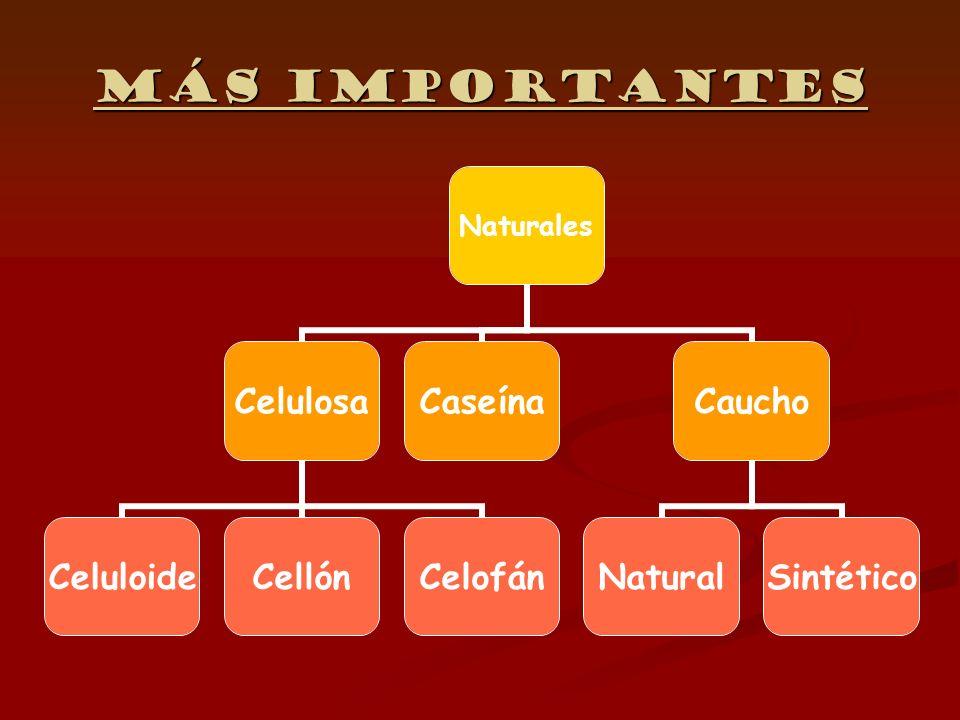 Celulosa TermoestableTermoestable CeluloideCeluloide +ácido nítrico+alcanfor +ácido nítrico+alcanfor Alta inflamabilidad Alta inflamabilidad No puede ser moldeado No puede ser moldeado Ejemplo: Ejemplo: Cellón + ácido acético Ejemplo: Celofán Celofán en disulfuro de carbono+sosa cáustica en disulfuro de carbono+sosa cáustica Viscosa (baño de ácido) Viscosa (baño de ácido) Ejemplo: Ejemplo: