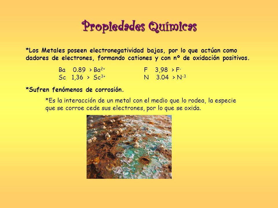 Propiedades Químicas *Los Metales poseen electronegatividad bajas, por lo que actúan como dadores de electrones, formando cationes y con nº de oxidaci
