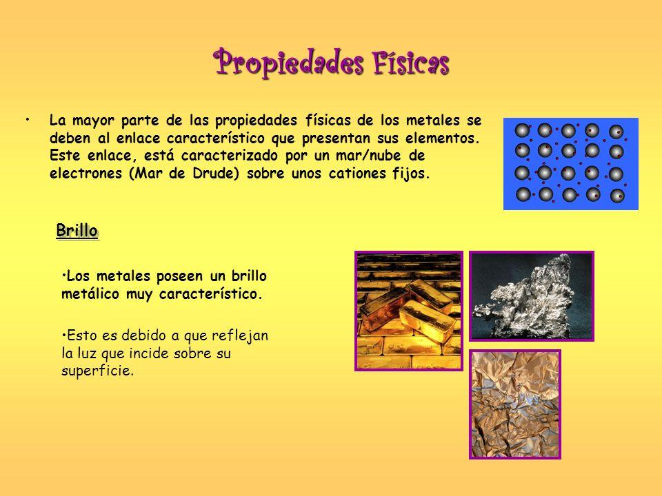 Propiedades Físicas La mayor parte de las propiedades físicas de los metales se deben al enlace característico que presentan sus elementos. Este enlac