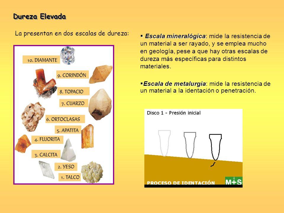 Dureza Elevada La presentan en dos escalas de dureza: Escala mineralógica Escala mineralógica: mide la resistencia de un material a ser rayado, y se e