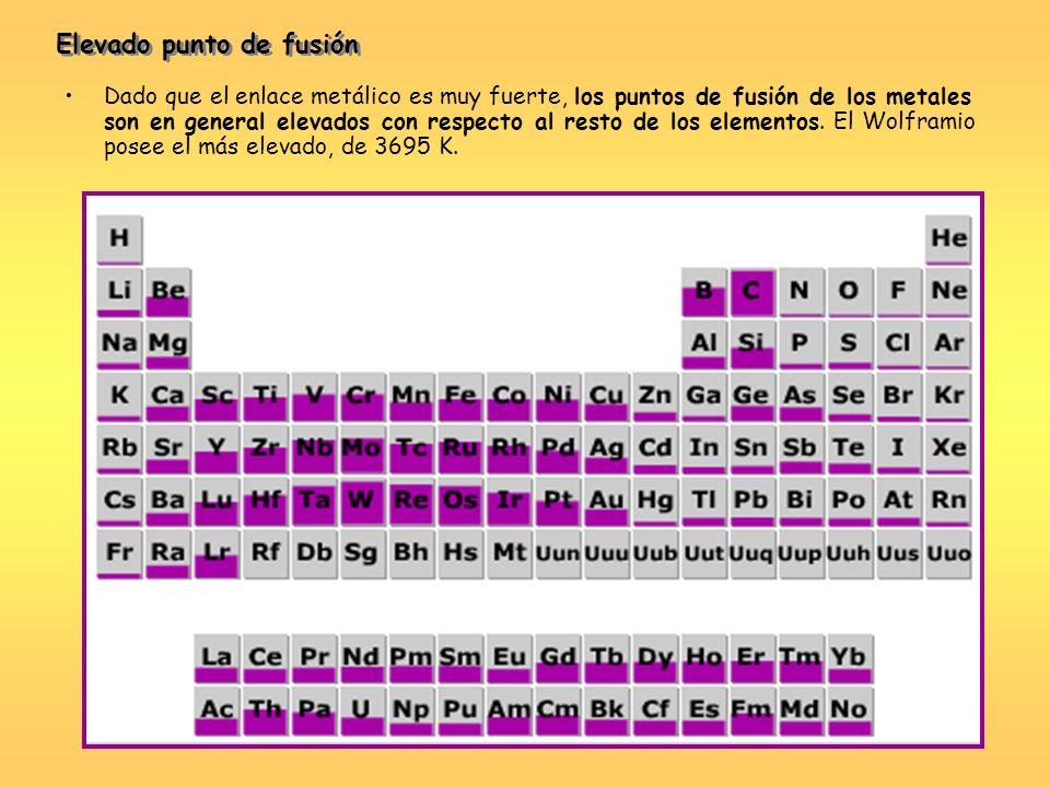 Dado que el enlace metálico es muy fuerte, los puntos de fusión de los metales son en general elevados con respecto al resto de los elementos. El Wolf