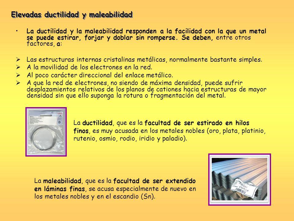La ductilidad y la maleabilidad responden a la facilidad con la que un metal se puede estirar, forjar y doblar sin romperse. Se deben, entre otros fac