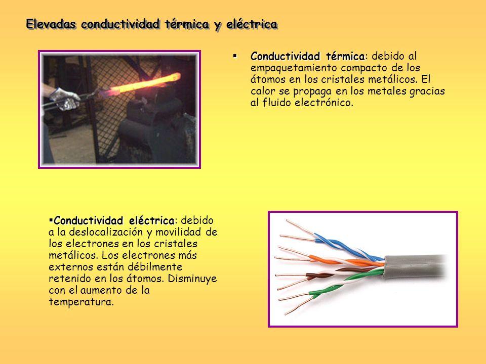 Conductividad térmica Conductividad térmica: debido al empaquetamiento compacto de los átomos en los cristales metálicos. El calor se propaga en los m