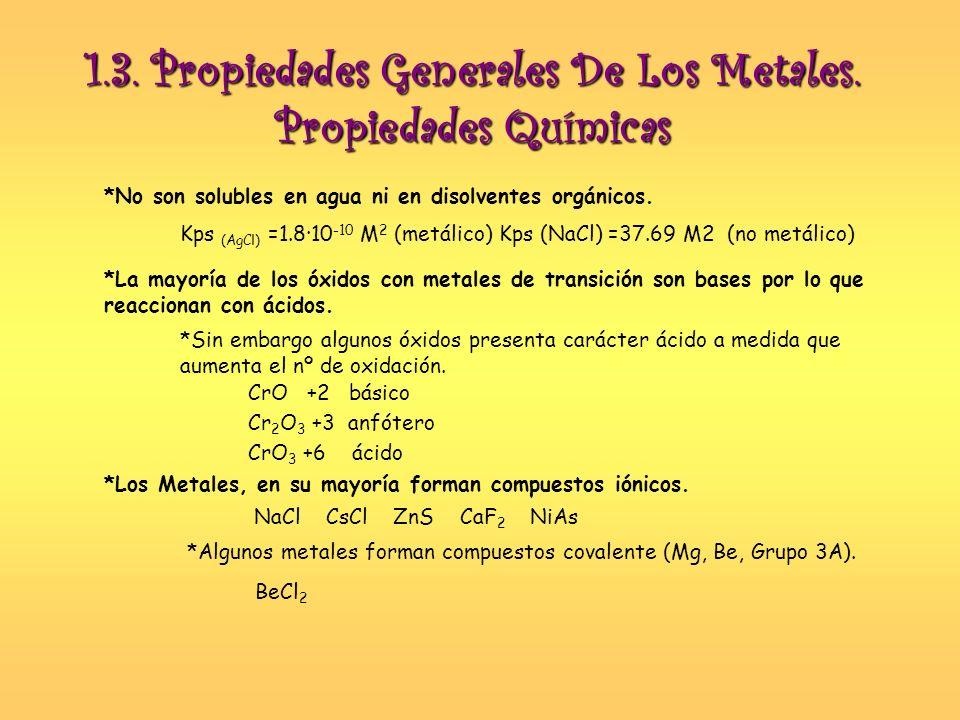 Propiedades Químicas *Los Metales poseen electronegatividad bajas, por lo que actúan como dadores de electrones, formando cationes y con nº de oxidación positivos.