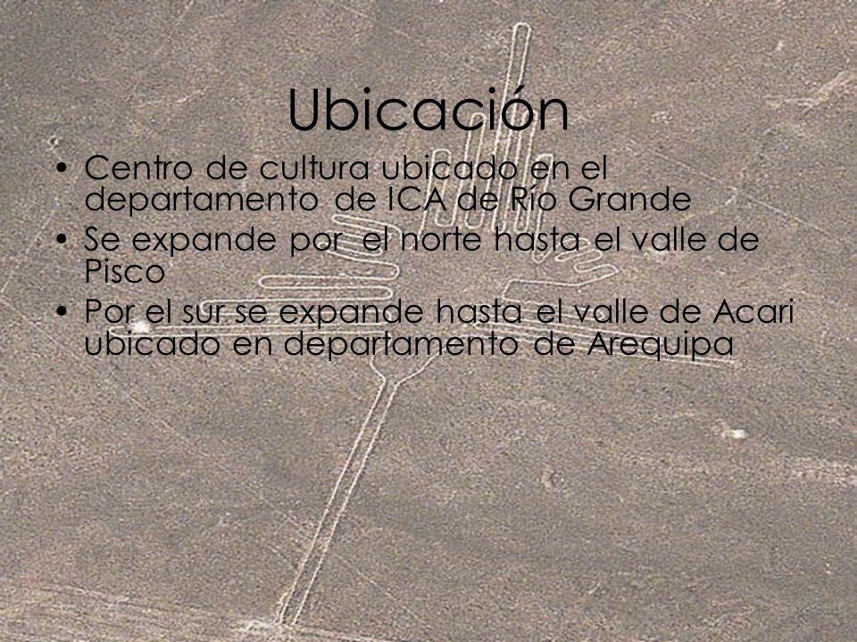 Ubicación Centro de cultura ubicado en el departamento de ICA de Río Grande Se expande por el norte hasta el valle de Pisco Por el sur se expande hast