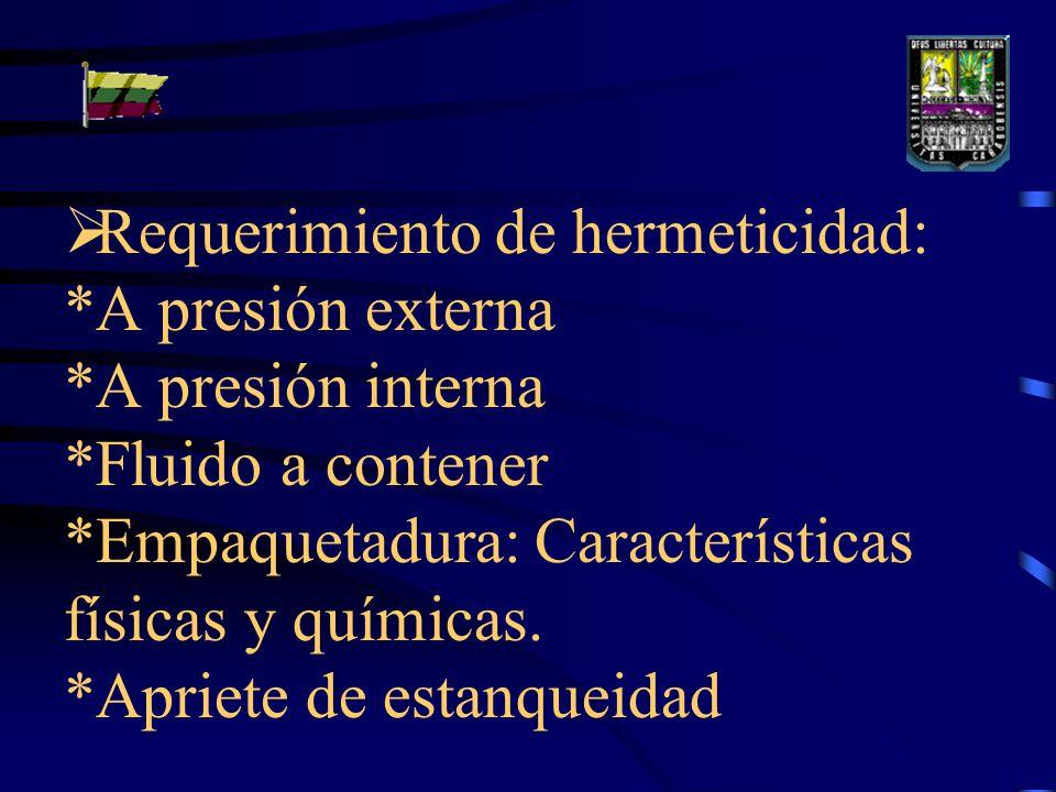 Requerimiento de hermeticidad: *A presión externa *A presión interna *Fluido a contener *Empaquetadura: Características físicas y químicas.