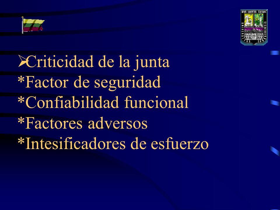 Criticidad de la junta *Factor de seguridad *Confiabilidad funcional *Factores adversos *Intesificadores de esfuerzo