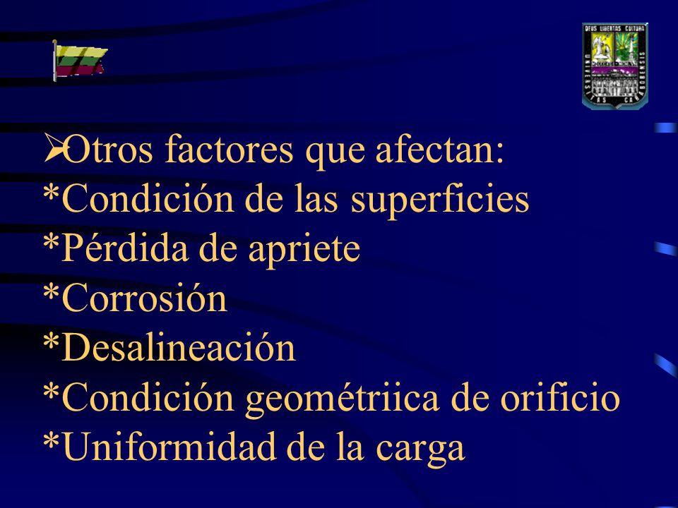 Otros factores que afectan: *Condición de las superficies *Pérdida de apriete *Corrosión *Desalineación *Condición geométriica de orificio *Uniformidad de la carga