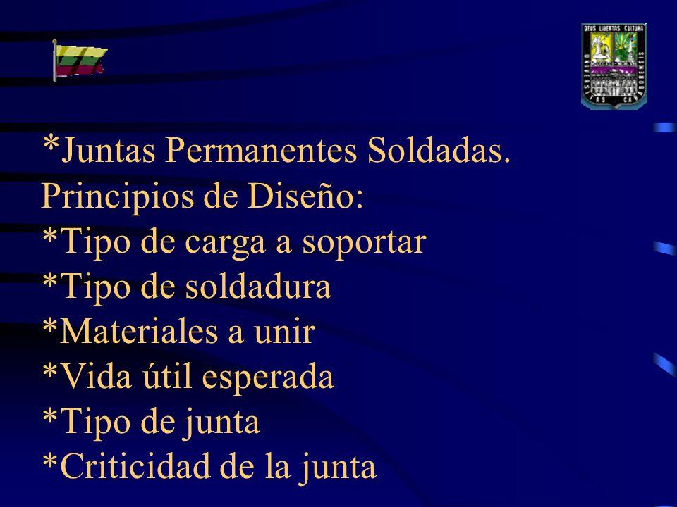 * Juntas Permanentes Soldadas.