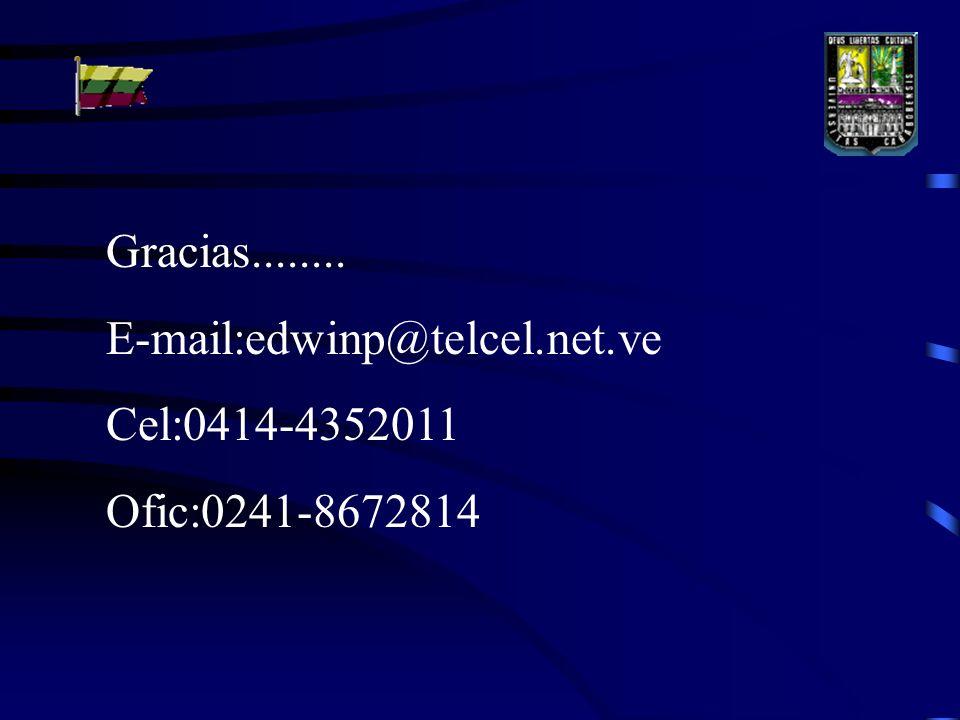 Gracias........ E-mail:edwinp@telcel.net.ve Cel:0414-4352011 Ofic:0241-8672814