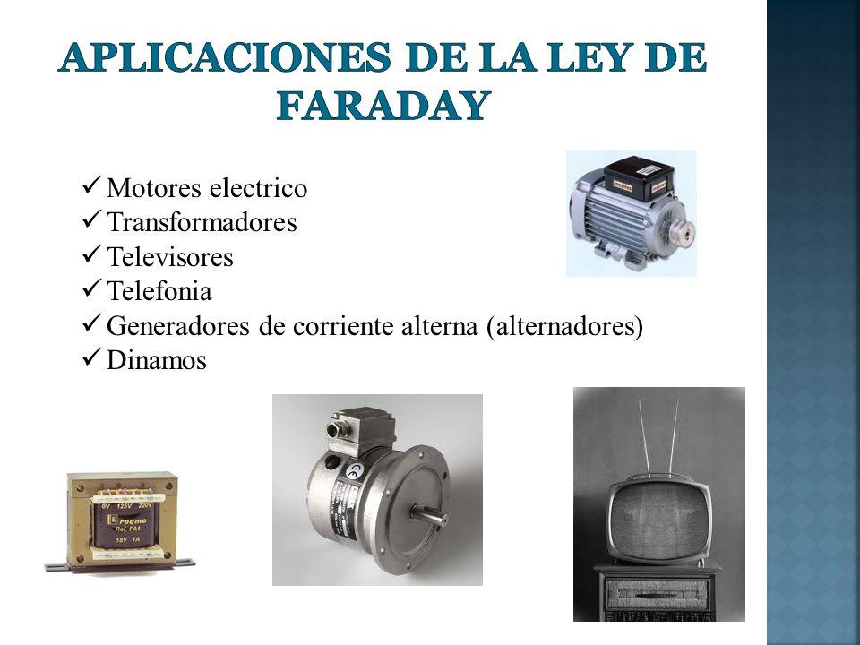 Motores electrico Transformadores Televisores Telefonia Generadores de corriente alterna (alternadores) Dinamos