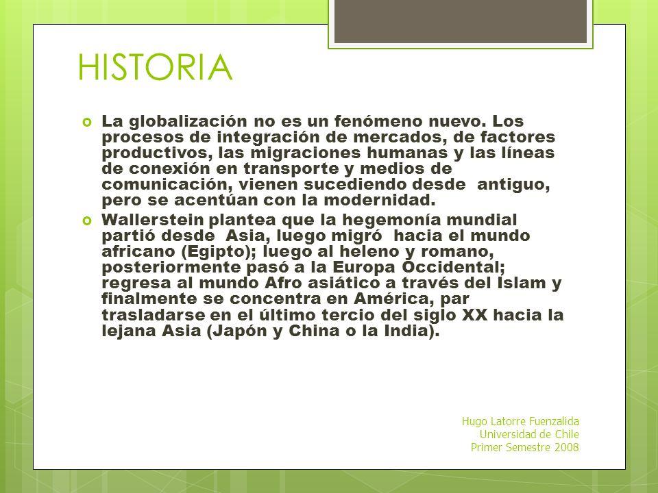 Hugo Latorre Fuenzalida Universidad de Chile Primer Semestre 2008 LA GLOBALIZACIÓN? Para el Fondo Monetario Internacional, por globalización se entien