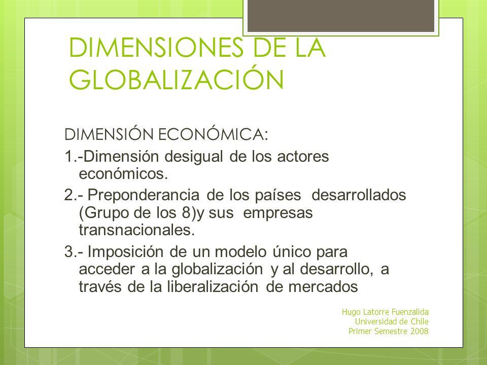 Hugo Latorre Fuenzalida Universidad de Chile Primer Semestre 2008 HISTORIA La globalización no es un fenómeno nuevo. Los procesos de integración de me