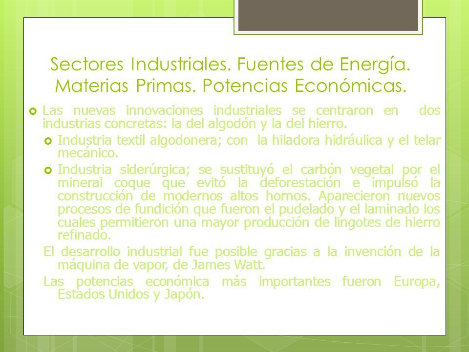 La riqueza de recursos minerales, utilizaban el carbón ya que era una fuente de energía capaz de mover las máquinas de vapor que se utilizaron en la p