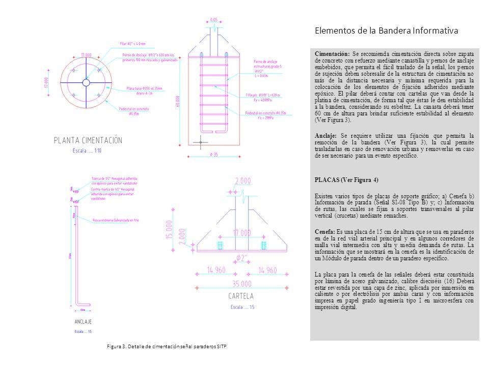 Cimentación: Se recomienda cimentación directa sobre zapata de concreto con refuerzo mediante canastilla y pernos de anclaje embebidos, que permita el
