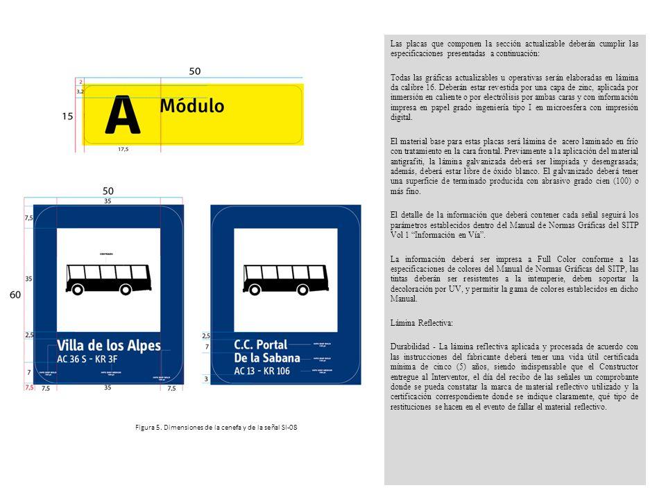 Las placas que componen la sección actualizable deberán cumplir las especificaciones presentadas a continuación: Todas las gráficas actualizables u op