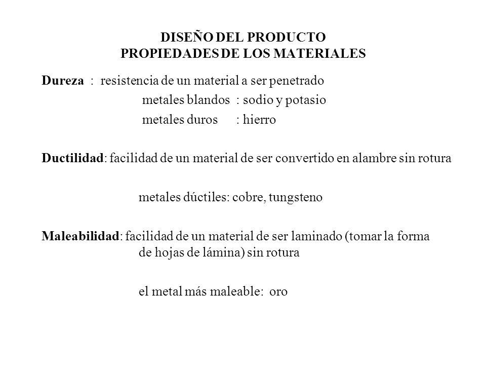 DISEÑO DEL PRODUCTO RESISTENCIA Límite Elástico: fuerza max que puede soportar un material sin que la deformación sea permanente Límite de Rotura: fuerza max que puede soportar un material sin que se rompa Módulo de Volumen = Presión.