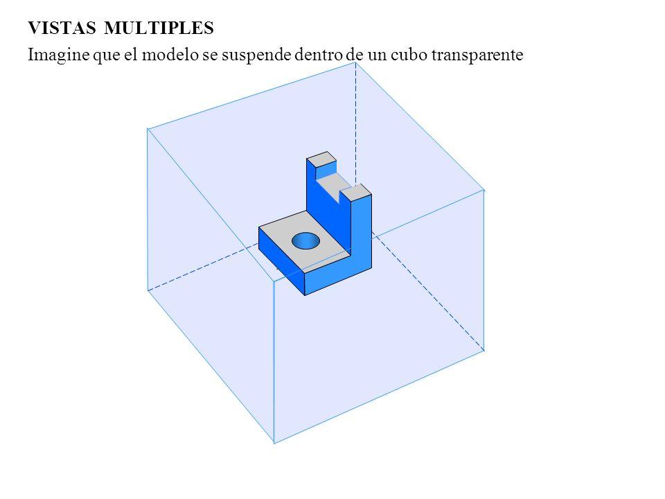 VISTAS MULTIPLES Un dibujo de vistas múltiples muestra cómo se ve un modelo desde cada uno de los 3 ejes coordenados