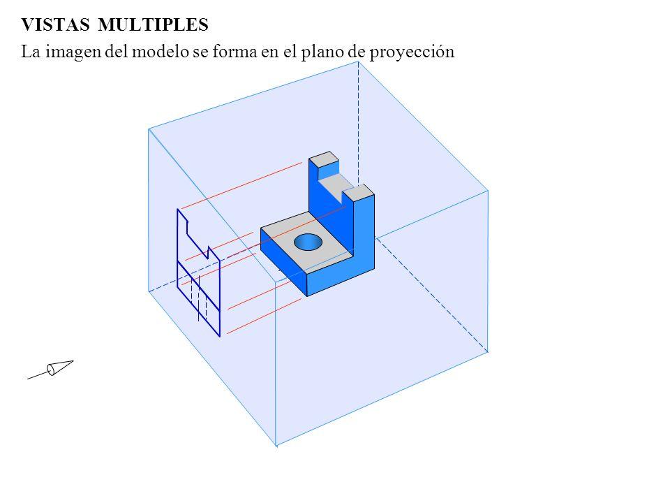 VISTAS MULTIPLES Para formar la vista frontal, el modelo es visto desde una orientación perpendicular a la cara frontal cubo