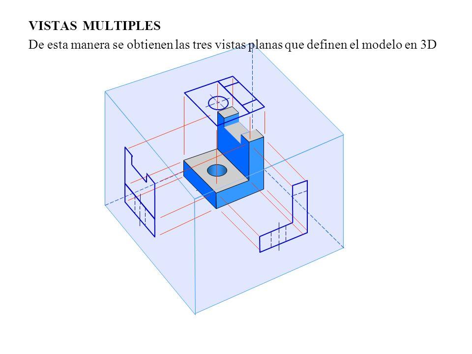 VISTAS MULTIPLES De igual manera la vista superior se obtiene con la proyección del modelo sobre la cara superior