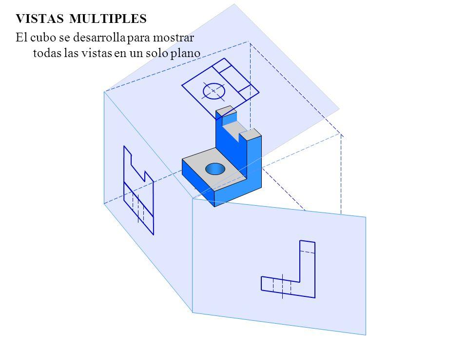 VISTAS MULTIPLES De esta manera se obtienen las tres vistas planas que definen el modelo en 3D