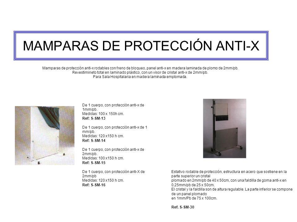 MAMPARAS DE PROTECCIÓN ANTI-X Mamparas de protección anti-x rodables con freno de bloqueo, panel anti-x en madera laminada de plomo de 2mm/pb.