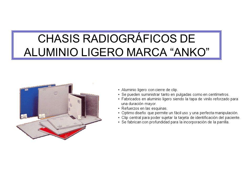 CHASIS RADIOGRÁFICOS DE ALUMINIO LIGERO MARCA ANKO Aluminio ligero con cierre de clip.
