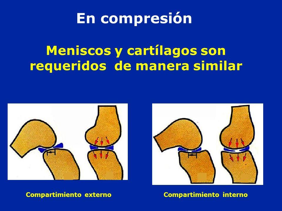 En compresión Meniscos y cartílagos son requeridos de manera similar Compartimiento externo Compartimiento interno