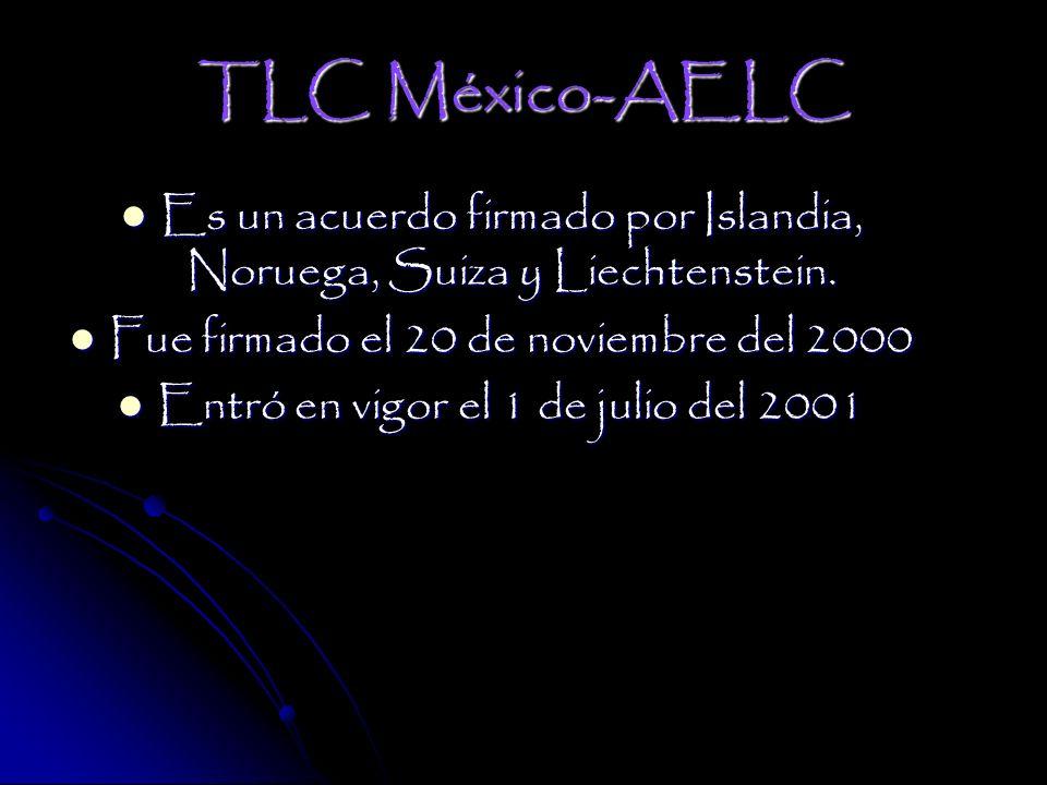 TLC México-AELC Es un acuerdo firmado por Islandia, Noruega, Suiza y Liechtenstein.