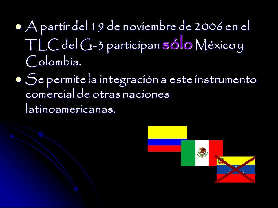A partir del 19 de noviembre de 2006 en el TLC del G-3 participan sólo México y Colombia.