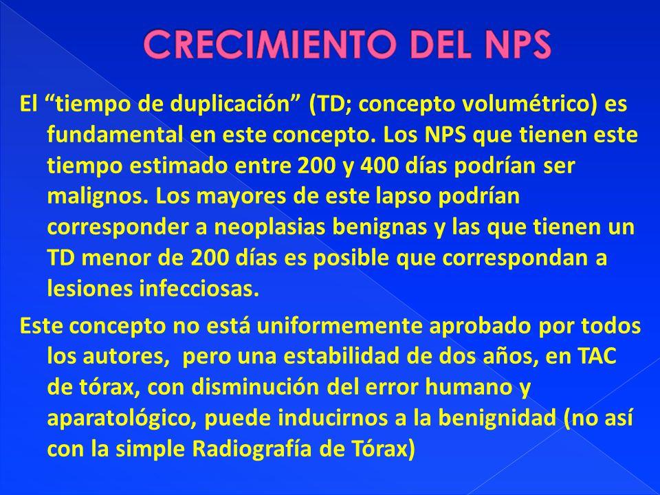 El tiempo de duplicación (TD; concepto volumétrico) es fundamental en este concepto. Los NPS que tienen este tiempo estimado entre 200 y 400 días podr