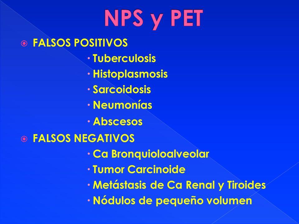FALSOS POSITIVOS Tuberculosis Histoplasmosis Sarcoidosis Neumonías Abscesos FALSOS NEGATIVOS Ca Bronquioloalveolar Tumor Carcinoide Metástasis de Ca R