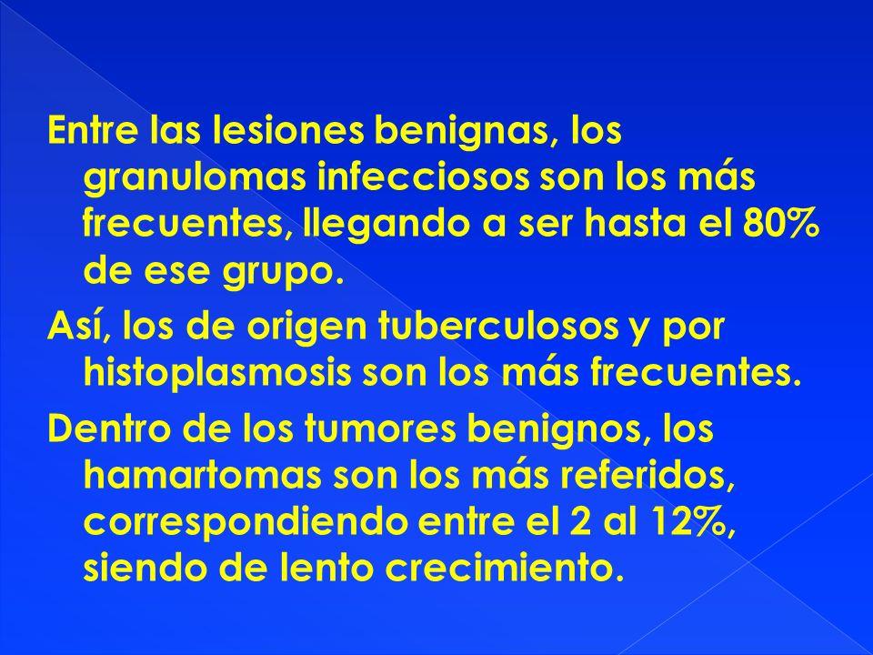 Entre las lesiones benignas, los granulomas infecciosos son los más frecuentes, llegando a ser hasta el 80% de ese grupo. Así, los de origen tuberculo