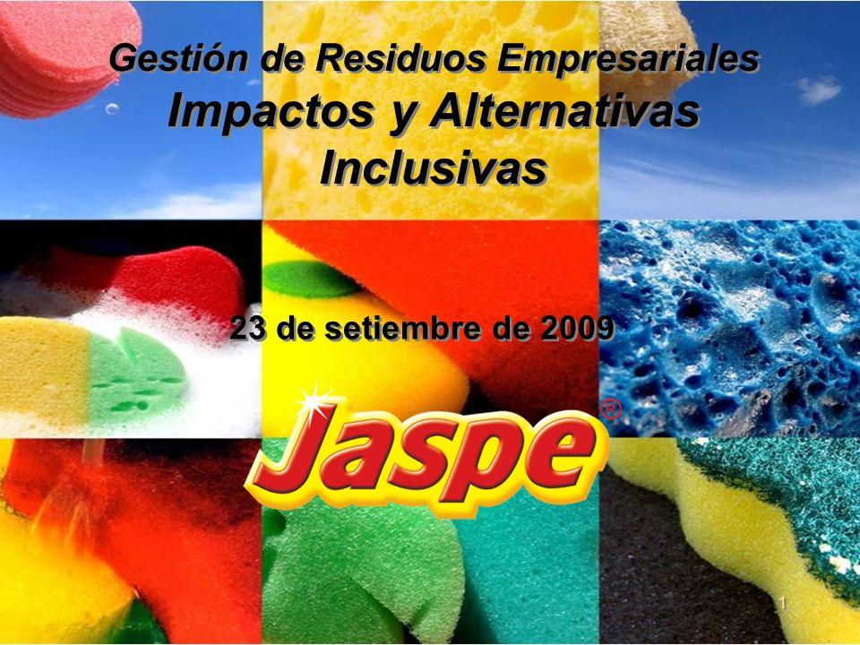 Nuestra Historia Jaspe es una fábrica de esponjas uruguaya nacida en 1985 de capitales nacionales que actualmente da trabajo a 71 personas.