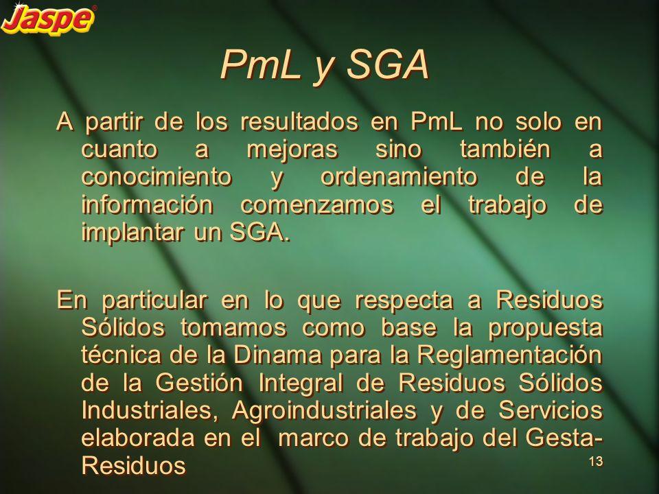 PmL y SGA A partir de los resultados en PmL no solo en cuanto a mejoras sino también a conocimiento y ordenamiento de la información comenzamos el tra
