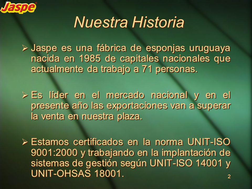Nuestra Historia Jaspe es una fábrica de esponjas uruguaya nacida en 1985 de capitales nacionales que actualmente da trabajo a 71 personas. Es líder e