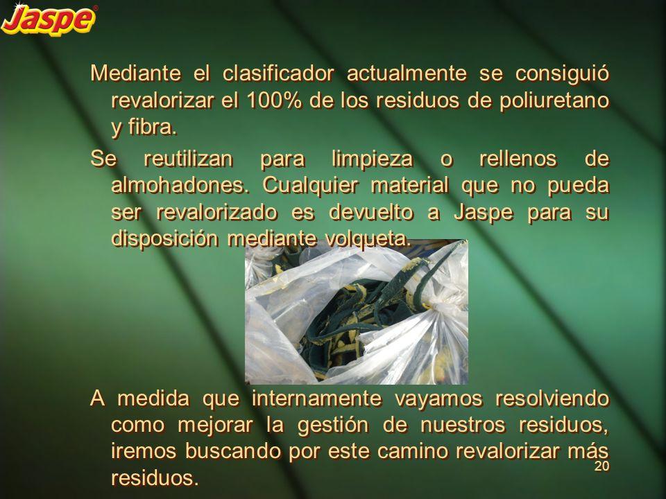 Mediante el clasificador actualmente se consiguió revalorizar el 100% de los residuos de poliuretano y fibra. Se reutilizan para limpieza o rellenos d