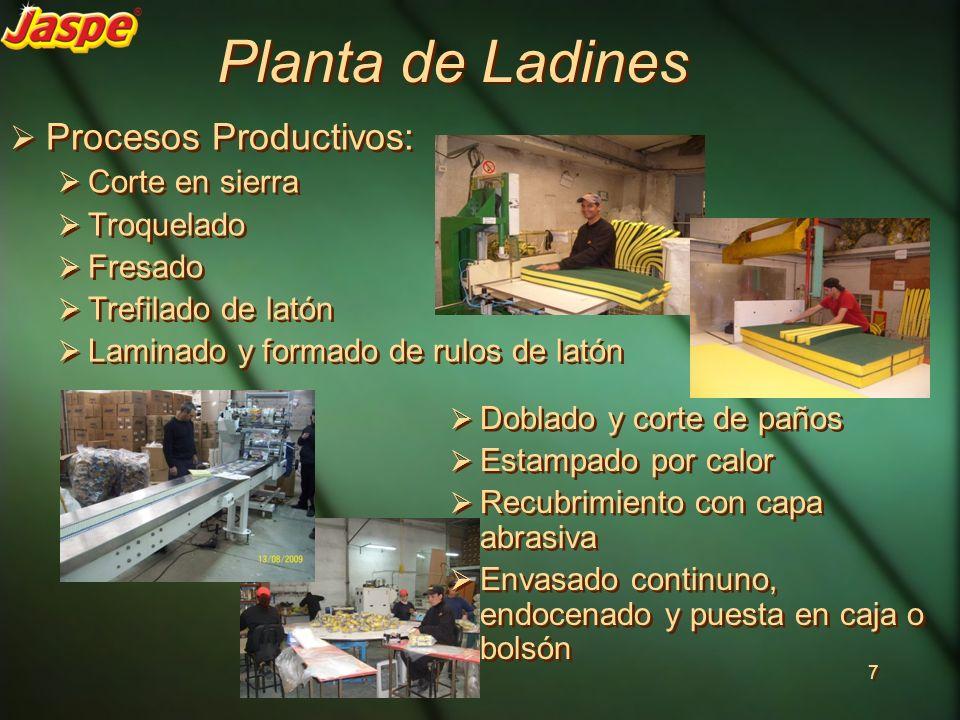 Planta de Ladines Procesos Productivos: Corte en sierra Troquelado Fresado Trefilado de latón Laminado y formado de rulos de latón Procesos Productivo
