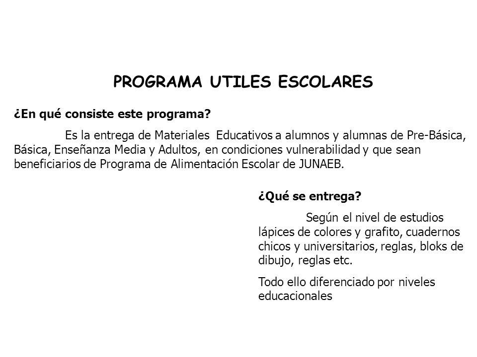 PROGRAMA UTILES ESCOLARES ¿En qué consiste este programa.