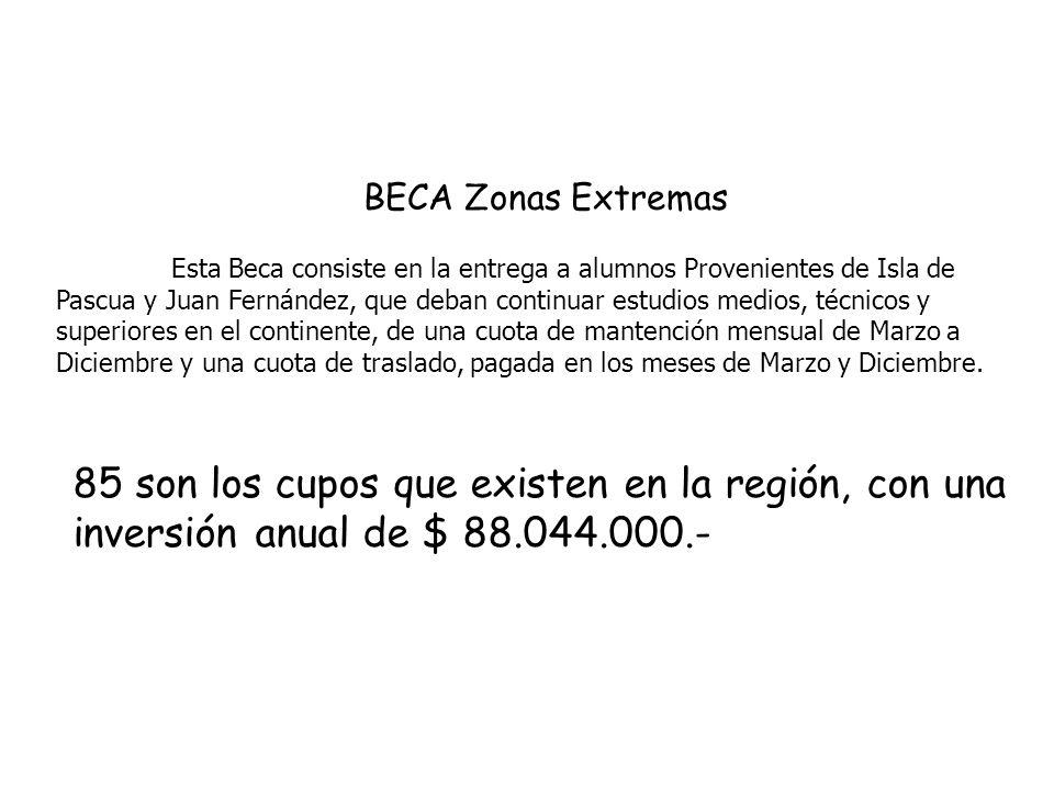 BECA Zonas Extremas Esta Beca consiste en la entrega a alumnos Provenientes de Isla de Pascua y Juan Fernández, que deban continuar estudios medios, técnicos y superiores en el continente, de una cuota de mantención mensual de Marzo a Diciembre y una cuota de traslado, pagada en los meses de Marzo y Diciembre.