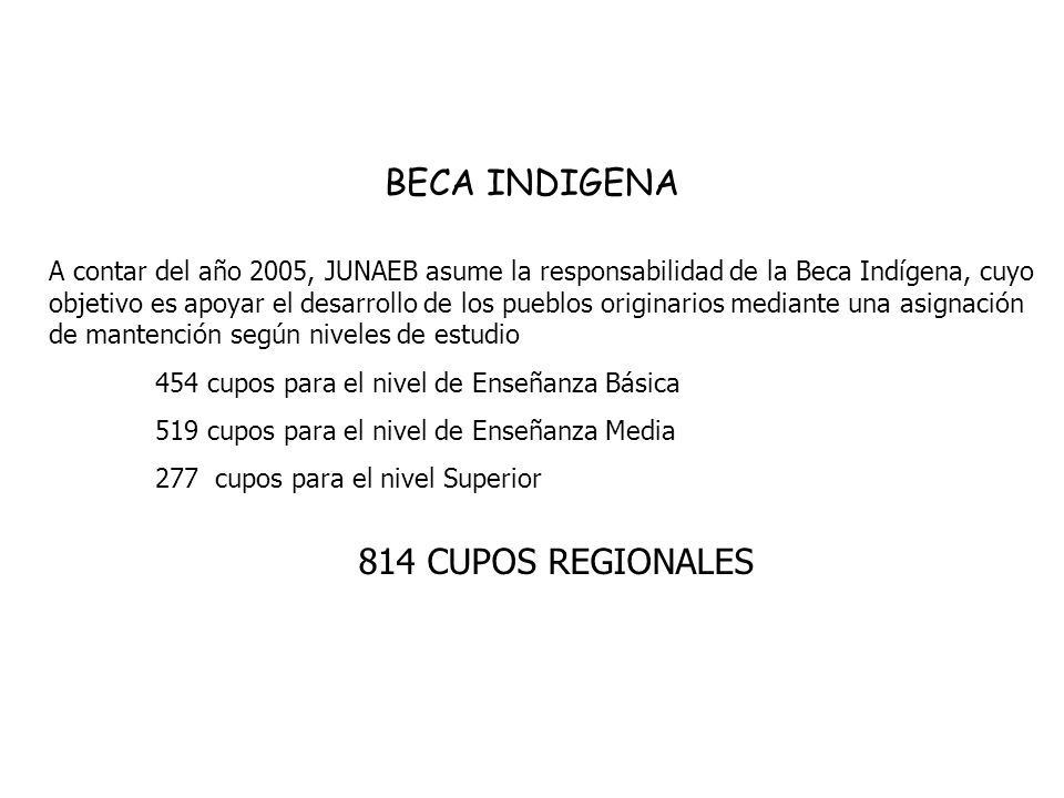 BECA INDIGENA A contar del año 2005, JUNAEB asume la responsabilidad de la Beca Indígena, cuyo objetivo es apoyar el desarrollo de los pueblos originarios mediante una asignación de mantención según niveles de estudio 454 cupos para el nivel de Enseñanza Básica 519 cupos para el nivel de Enseñanza Media 277 cupos para el nivel Superior 814 CUPOS REGIONALES