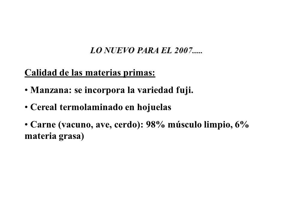 LO NUEVO PARA EL 2007..... Calidad de las materias primas: Manzana: se incorpora la variedad fuji.