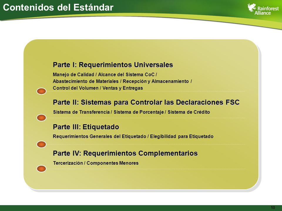 10 Parte I: Requerimientos Universales Parte II: Sistemas para Controlar las Declaraciones FSC Sistema de Transferencia / Sistema de Porcentaje / Sist
