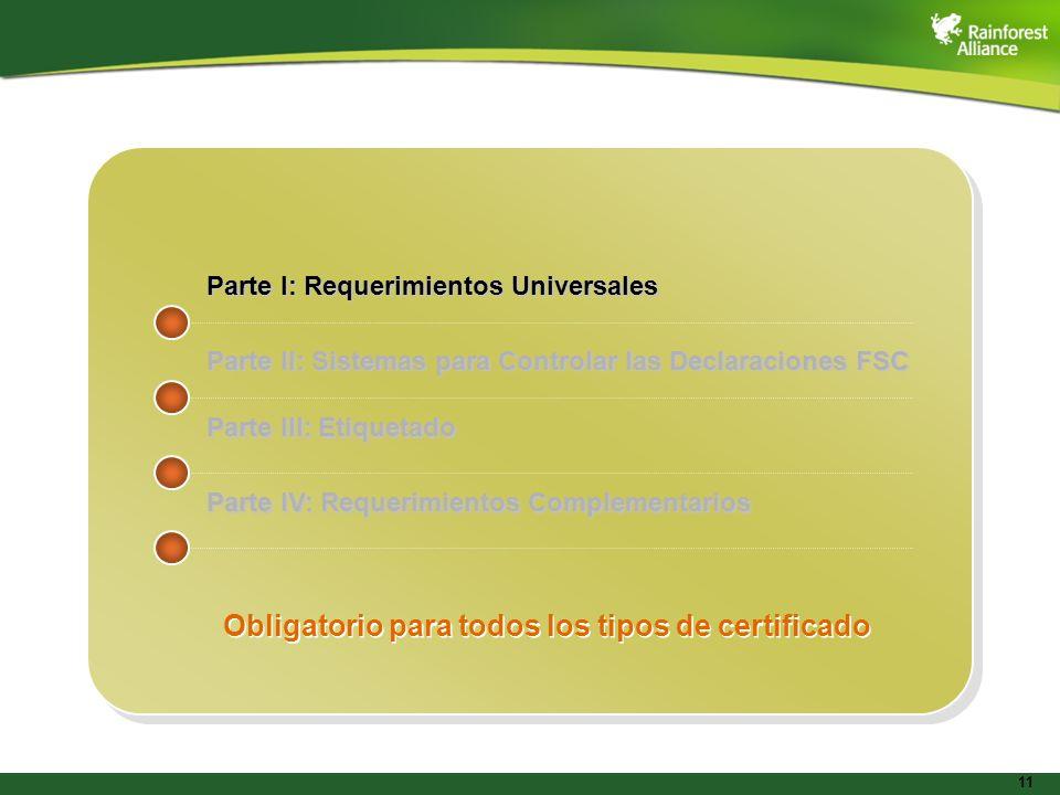 11 Parte I: Requerimientos Universales Parte II: Sistemas para Controlar las Declaraciones FSC Parte III: Etiquetado Parte IV: Requerimientos Compleme